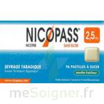 NICOPASS MENTHE FRAICHEUR 2,5 mg SANS SUCRE, pastille édulcorée à l'aspartam et à l'acésulfame potassique à Trelissac